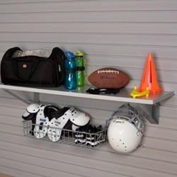 Using storeWALL shelves and hooks the perfect storage solution for football items is at hand.