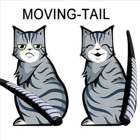 Cartoon Cat Moving Tail Stickers Reflective Car Window Wiper Decals