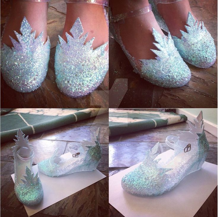 In process for one of my next cosplays for the middle of the year; Elsa. Made from plastic clear shoes, craft foam, glue and tons of glitter. I know Elsa doesn't have wedges, but they are far more ...
