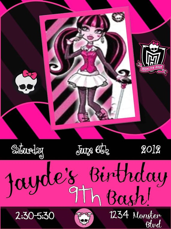 296 best ellas monster high party images on pinterest monster monster high birthday invitations filmwisefo Image collections