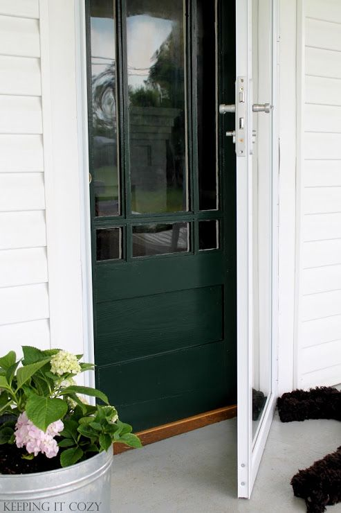 Benjamin Moore Essex Green Paint. Keeping It Cozy: Porch Update: The Front Door