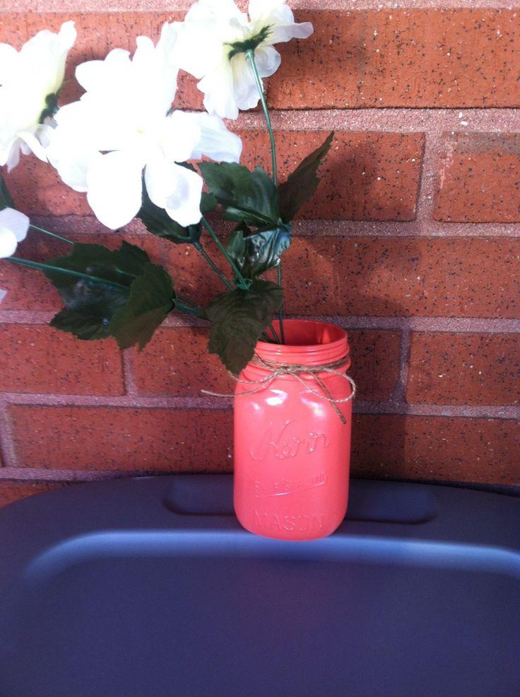 Coral Twine Mason Jar - pinned by pin4etsy.com