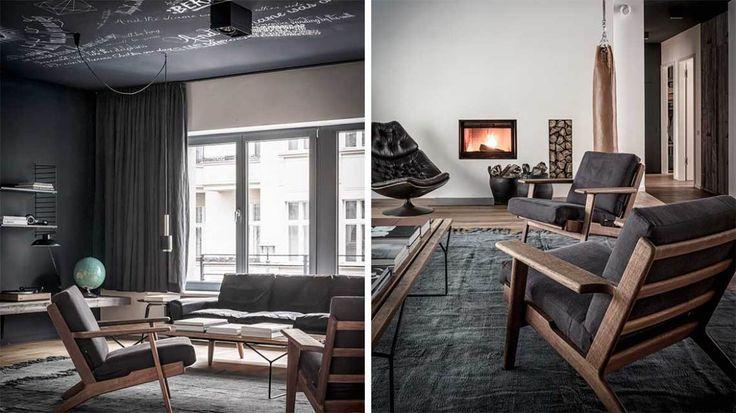Berlin luxury apartment in dark colors - via cocolapinedesign.com