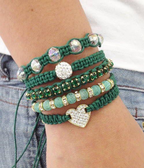 Bracelet shamballa agatha green