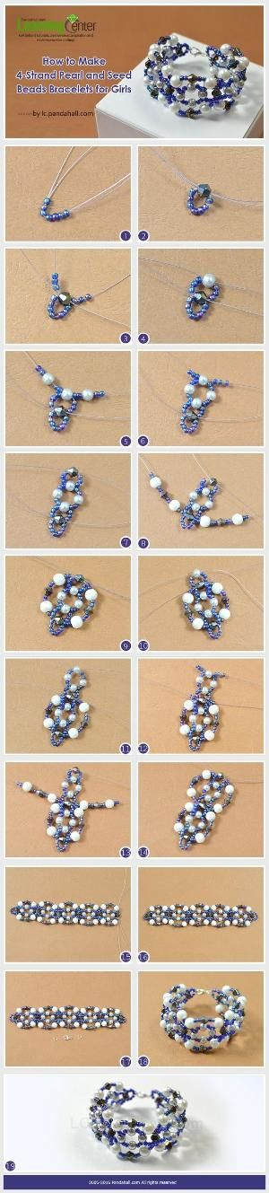 How to Make 4-Strand Pearl and Seed Beads Bracelets for Girls from LC.Pandahall.com | Jewelry Making Tutorials & Tips 2 | Pinterest by Jersica