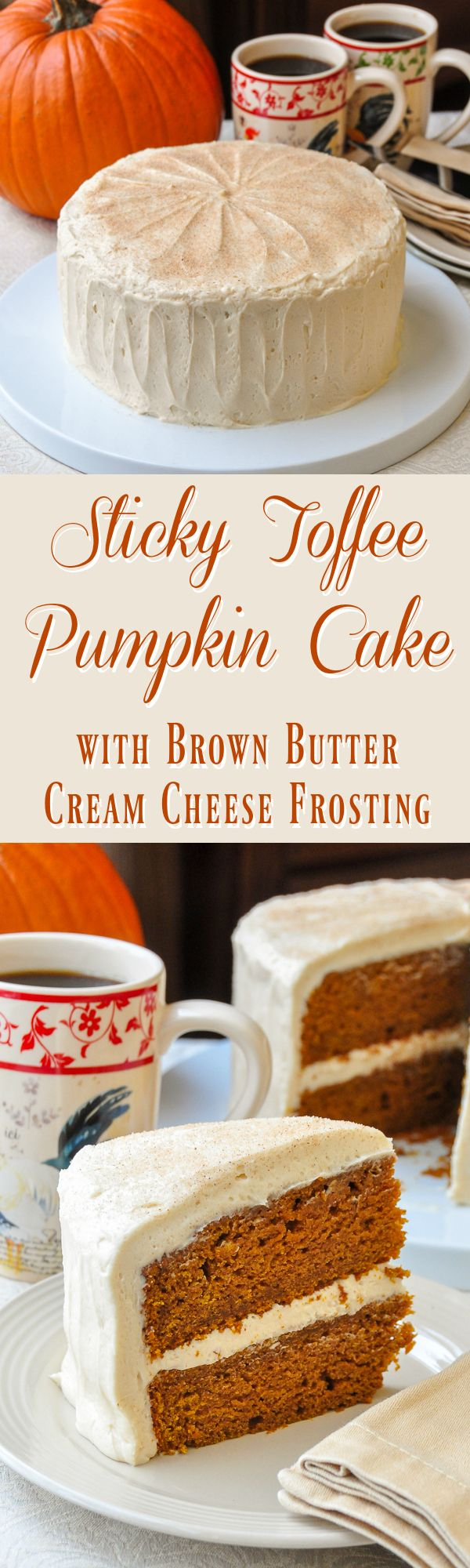 Sticky Toffee Pumpkin Cake with Brown Butter Cream Cheese Frosting - inspired by my favourite English dessert, this cake has become a seasonal favourite but can be made at any time for year using canned pumpkin puree.