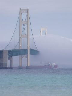 an amazing view of the Mackinac Bridge in the fog