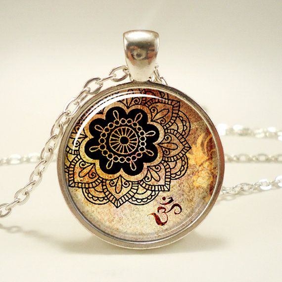 Om Necklace, Henna Design Yoga Jewelry, Om Charm, Silver Plate (0449S1IN). $14.45, via Etsy.