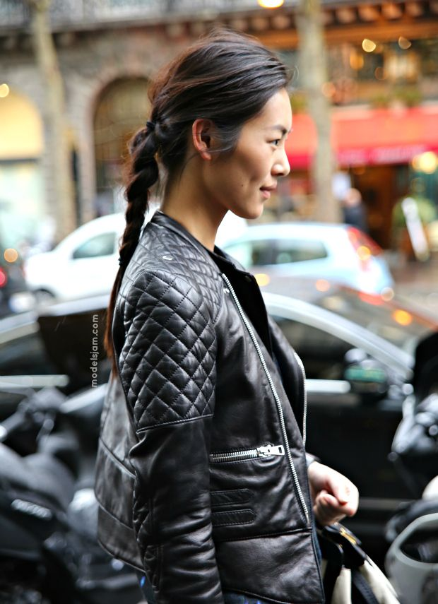 Model Liu Wen. Street style, Paris, September 2012