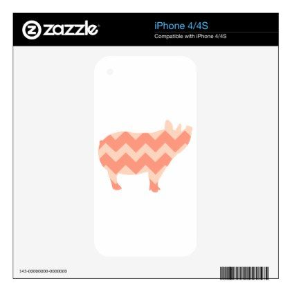 Cute Coral Chevron Pig iPhone 4S Decals - girly gifts special unique gift idea custom