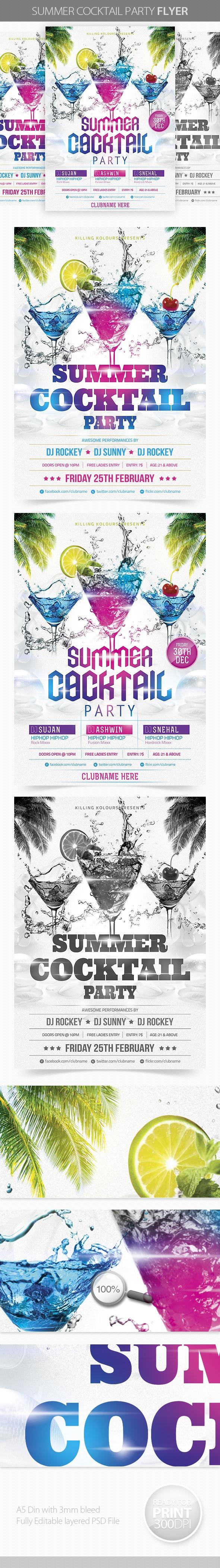 Summer Cocktail Party by Mahantesh Nagashetty, via Behance