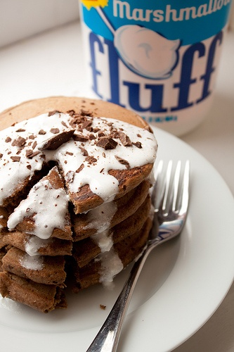 S'Mores Pancakes...with Marshmallow sauce