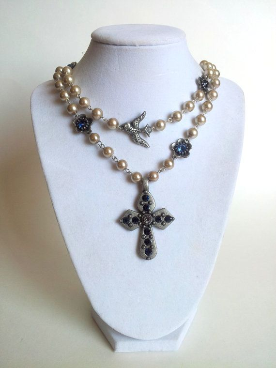 Ivory Pearls and Saphire Crystal Cross by divinitycollection, $130.00