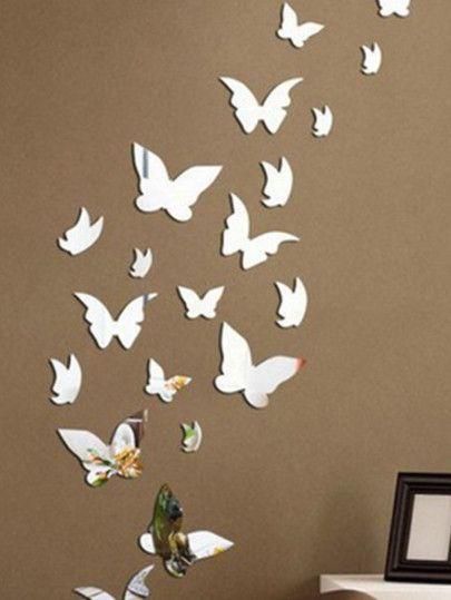 shop butterfly mirror wall sticker set 14pcs online. shein offers