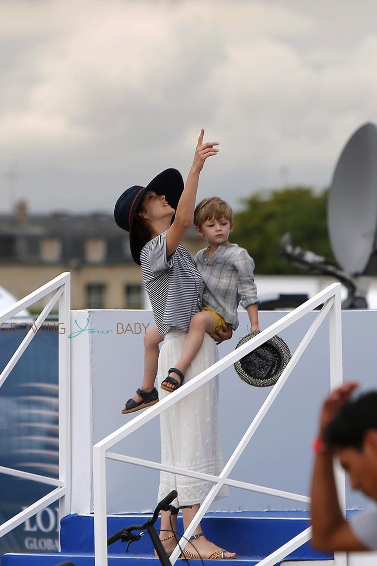 Marion Cotillard and Her Son Marcel Attend The Chantilly International Jumping Competition