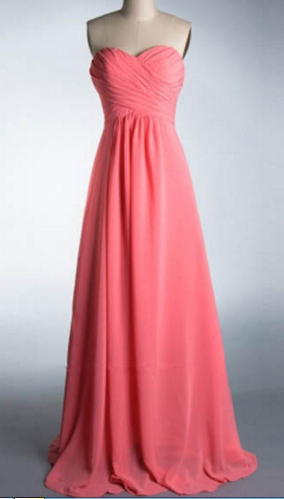 Sweetheart Neck Chiffon Evening Gowns Simple Floor Length