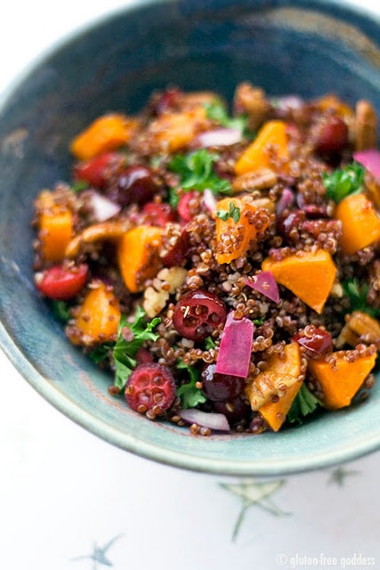 Quinoa and butternut squash- with cranberries, red onion and pecans. Love the colors!