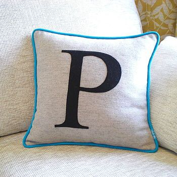 Turquoise Edged Colour Flash Monogrammed Cushion
