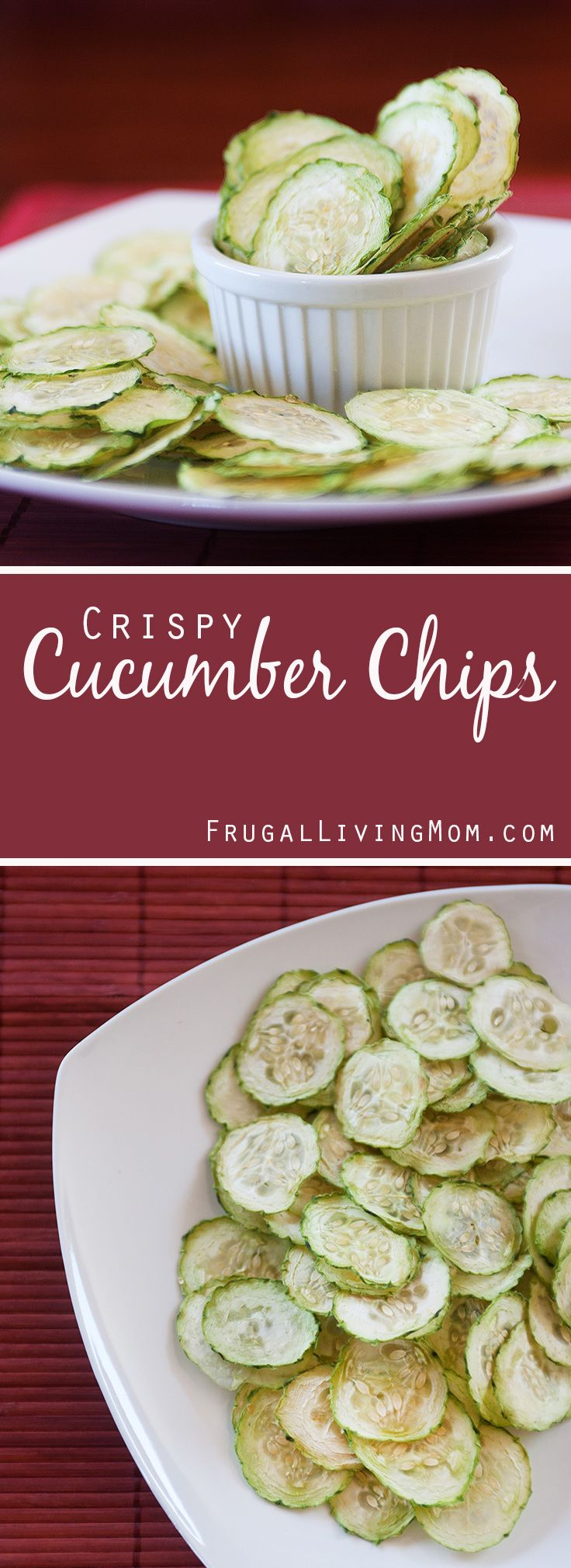 I have to try these Crispy Cucumber Chips! Great reason to pull out the dehydrator! Quick and easy Crispy Cucumber Chips - they only took about 10 minutes to prep, and they probably stay fresh for a few days but we ate them too fast to find out about their shelf life! :)