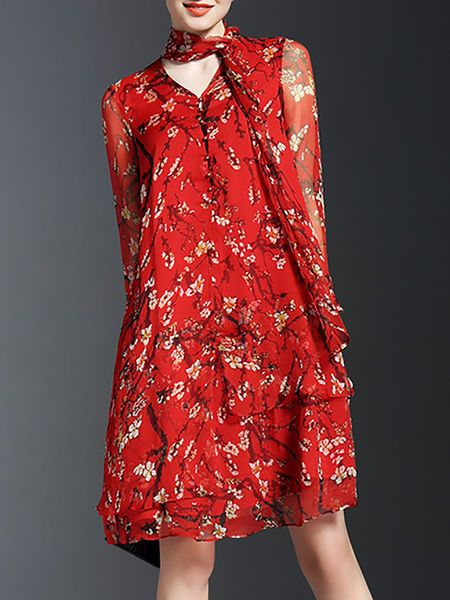 Floral-print Silk #Midi #Dress with Tie