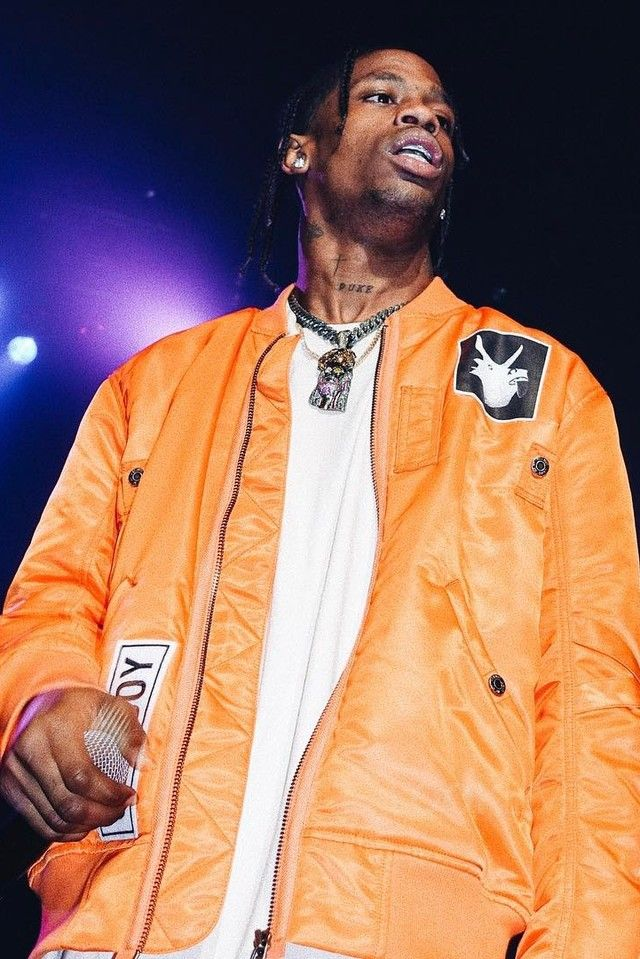 Travis Scott wearing  Helmut Lang Tech-Twill Bomber Jacket