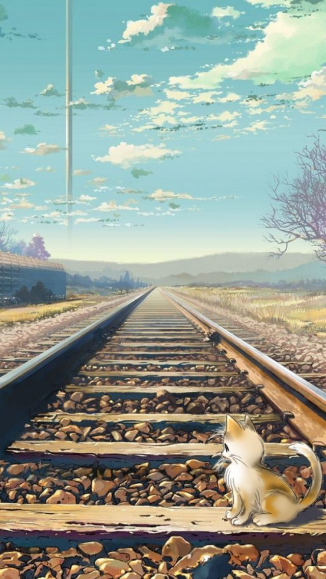 Cute Kitten Train Tracks Painting iPhone 5 Wallpaper