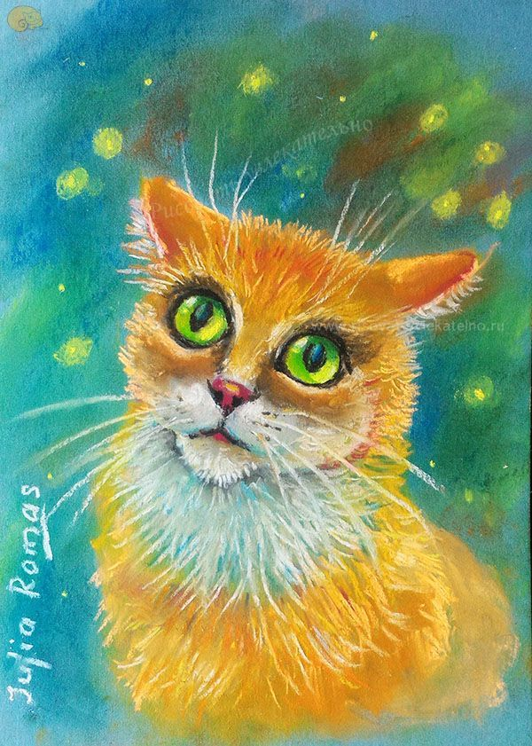 Рисунки кошки поэтапно гуашью что кто-то