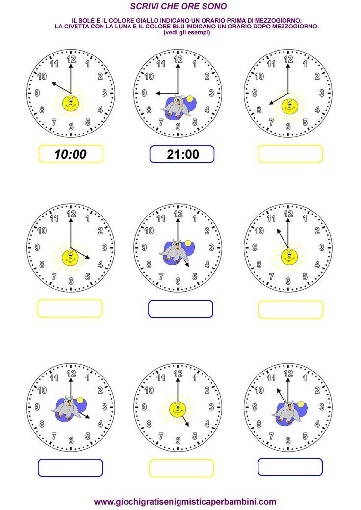 Schede didattiche di matematica per imparare a leggere l'orologio