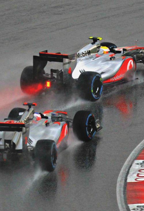 Lewis Hamilton followed by Jenson Button Malaysia 2012