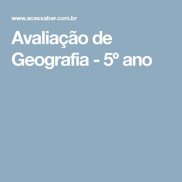 Avaliação de Geografia - 5º ano
