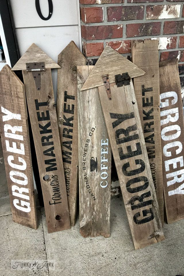 Vintage Signs - clever ways signs were made using salvaged wood and hardware - Funky Junk Interiors