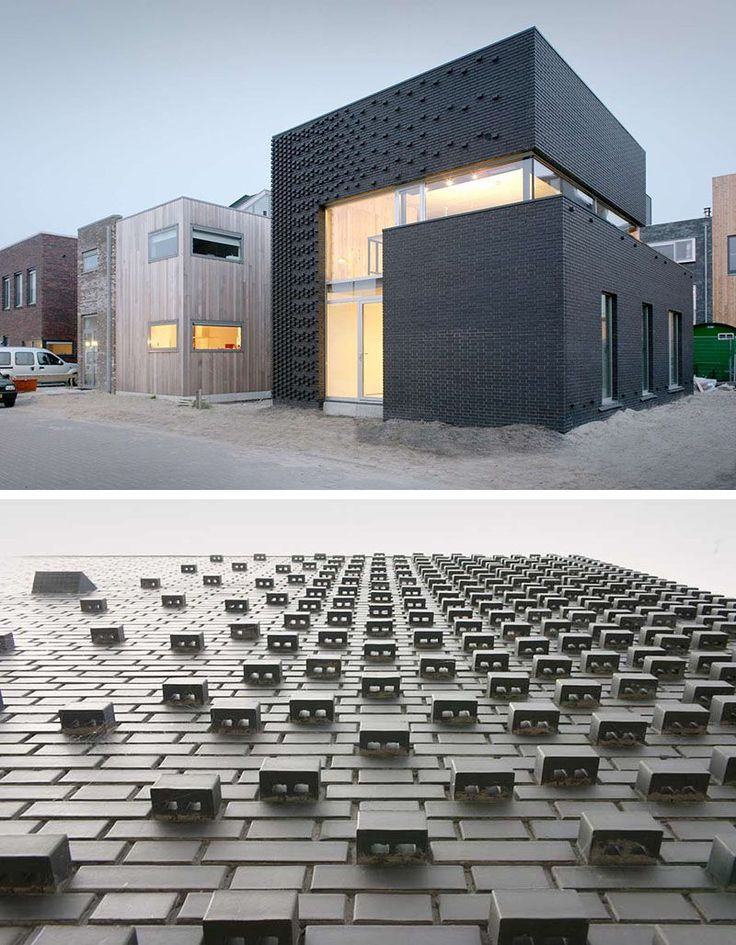 14 Modern Houses Made Of Brick | Dark bricks on the exterior of this house and their unique arrangement keep this building smooth in some places and textured in others.