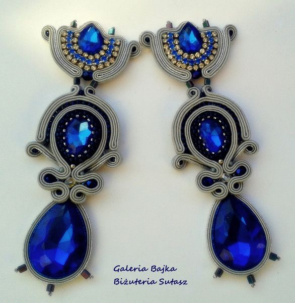 "Kolczyki+sutasz+(earrings+soutache)+""Cléopâtre""++w+Galeria+Bajka+Soutache+Jewelry+na+DaWanda.com"