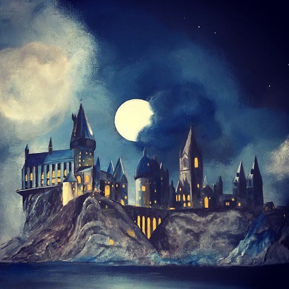 Harry Potter Hogwarts Castle of Witchcraft and Wizardry Acrylic on Canvas Acrylic Painting of Hogwarts Castle in the Moonlight Magic