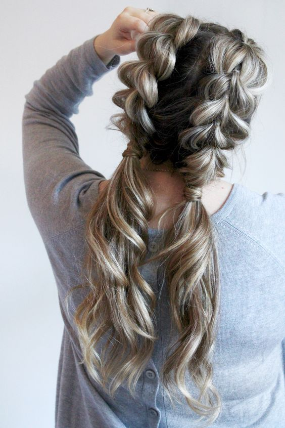 Watch how to do your own jumbo pull through braid pigtails perfect for day to day, the gym, or date night! Check out this beautiful tutorial! ponytails, braids, hairstyles, cute, big braids, pigtails, trendy hair. pull through braid pigtails