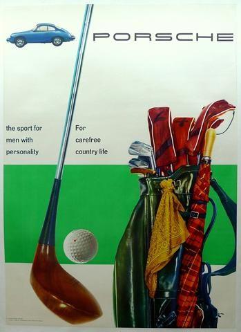 A Porsche dealership poster, 356 & Golf,