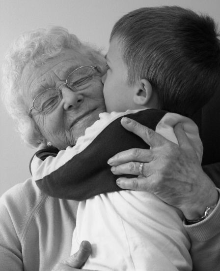 Grandma hugs. THIS is the very best part of my life. Worth all the pain and nonsense to get to this point in life!