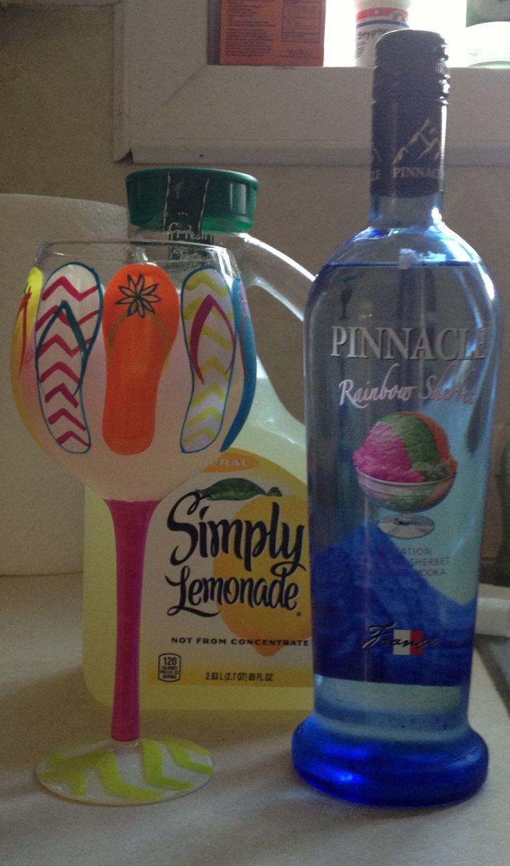 """""""my new summer drink!!! pinnacle rainbow sherbet vodka & simply lemonade....delish!!"""""""