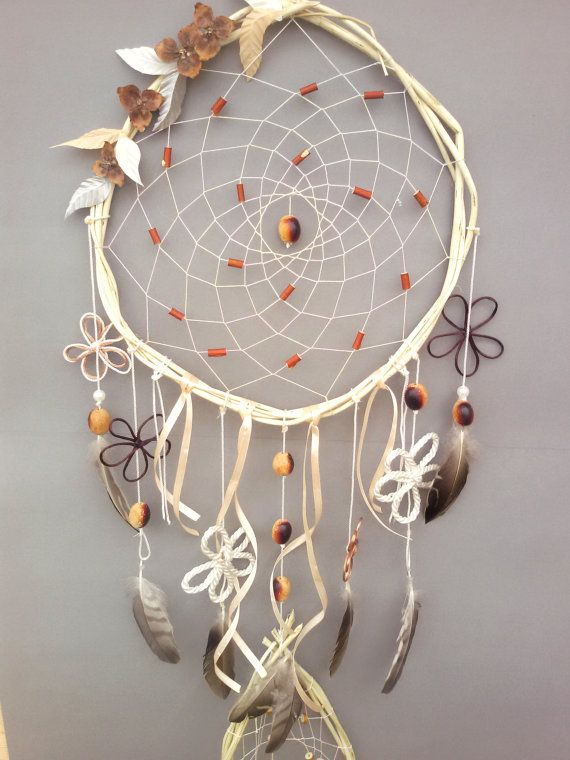 Large Wood Dream Catcher Bohemian Dream by DreamyFlowerWonder