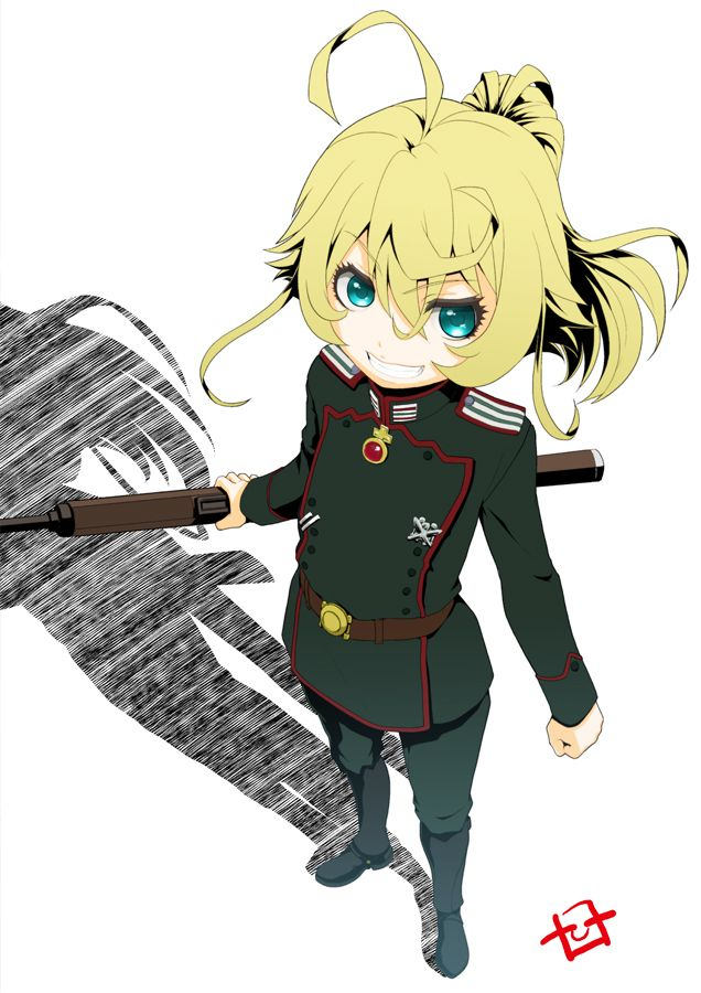 youjo senki tanya degurechaff hiroshi ohnuma 1girl ahoge belt blonde boots female full body green eyes gun loli looking at viewer military military uniform ponytail rifle short hair simple background smile solo standing tied hair uniform weapon white background