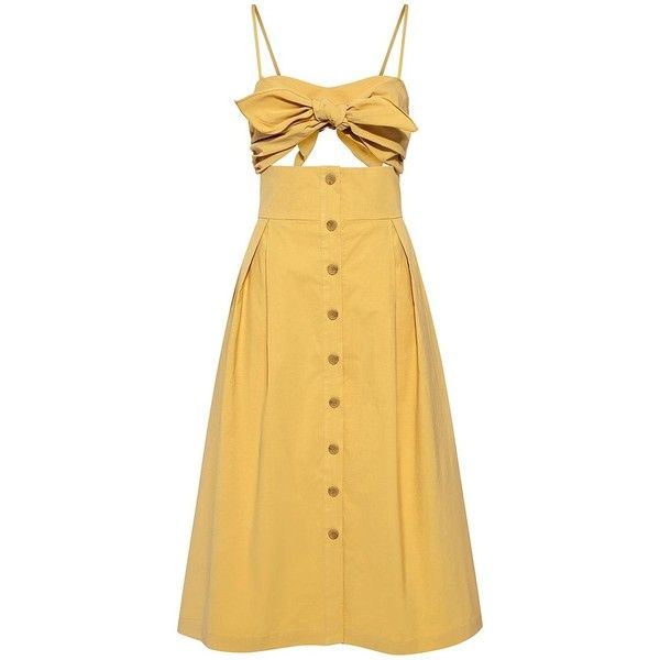 Sea - Front Cutout Bow Ties Midi Dress ($445) ❤ liked on Polyvore featuring dresses, midi dress, calf length dresses, linen dresses, pleated midi dress, cut out midi dress and yellow dress