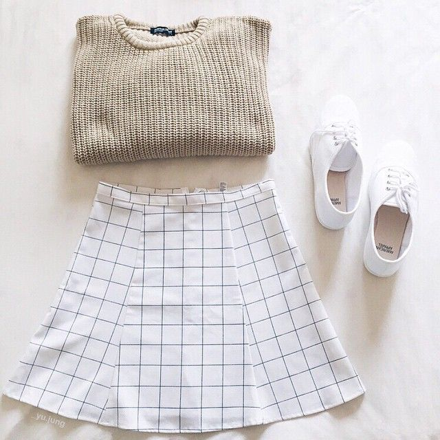Spring neutrals: The Fisherman Pullover, Lulu Mini Skirt & Tennis Shoes.