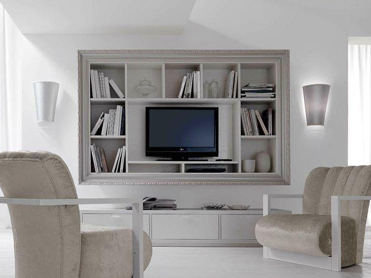 Mobile TV sospeso in legno con libreria GRETA Collezione Greta by CorteZari
