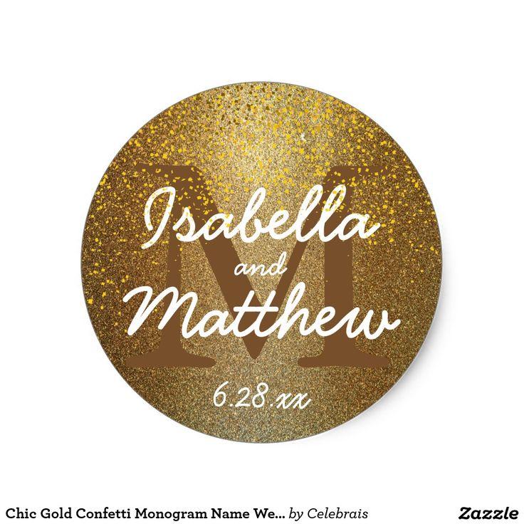Chic Gold Confetti Monogram Name Wedding Sticker