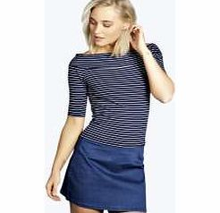 boohoo Striped 3/4 Sleeve Bardot Top - navy azz13701 Make your top pop this season with sporty, baseball-style basic tees in quilted finishes with ribbed, stripe trims. Crew necks come in block colours, crop tops with mesh inserts and long sleeve jersey http://www.comparestoreprices.co.uk/womens-clothes/boohoo-striped-3-4-sleeve-bardot-top--navy-azz13701.asp