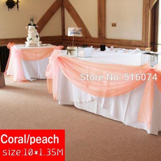 10 m * 1.35 m de color melocotón pura botín organza swag de diy tela para decoración de la boda, cortina telón de fondo y decoración de la mesa