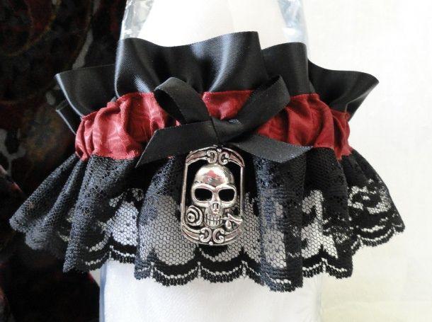 Black Satin-Burgundy Ribbon- Lace Skull Wedding Garter-Vamp-Goth-Bachelorette-SOLD by Shabee Stitches, via Flickr