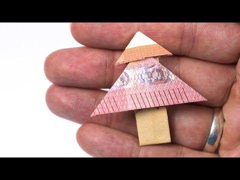 Geld falten WEIHNACHTSBAUM: Tannenbaum aus einem Geldschein falten - YouTube