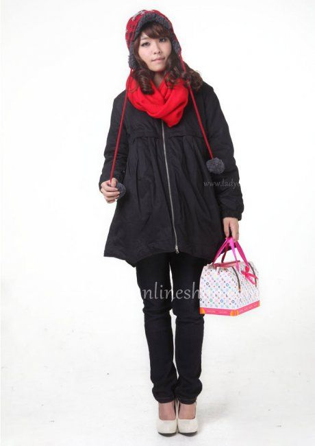 Maternity Black Cotton Hooded Jacket with Rib Sleeves and Pompons