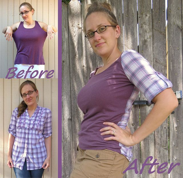 Plaid-Back Tee - Before & After by nosmallfeet, via Flickr